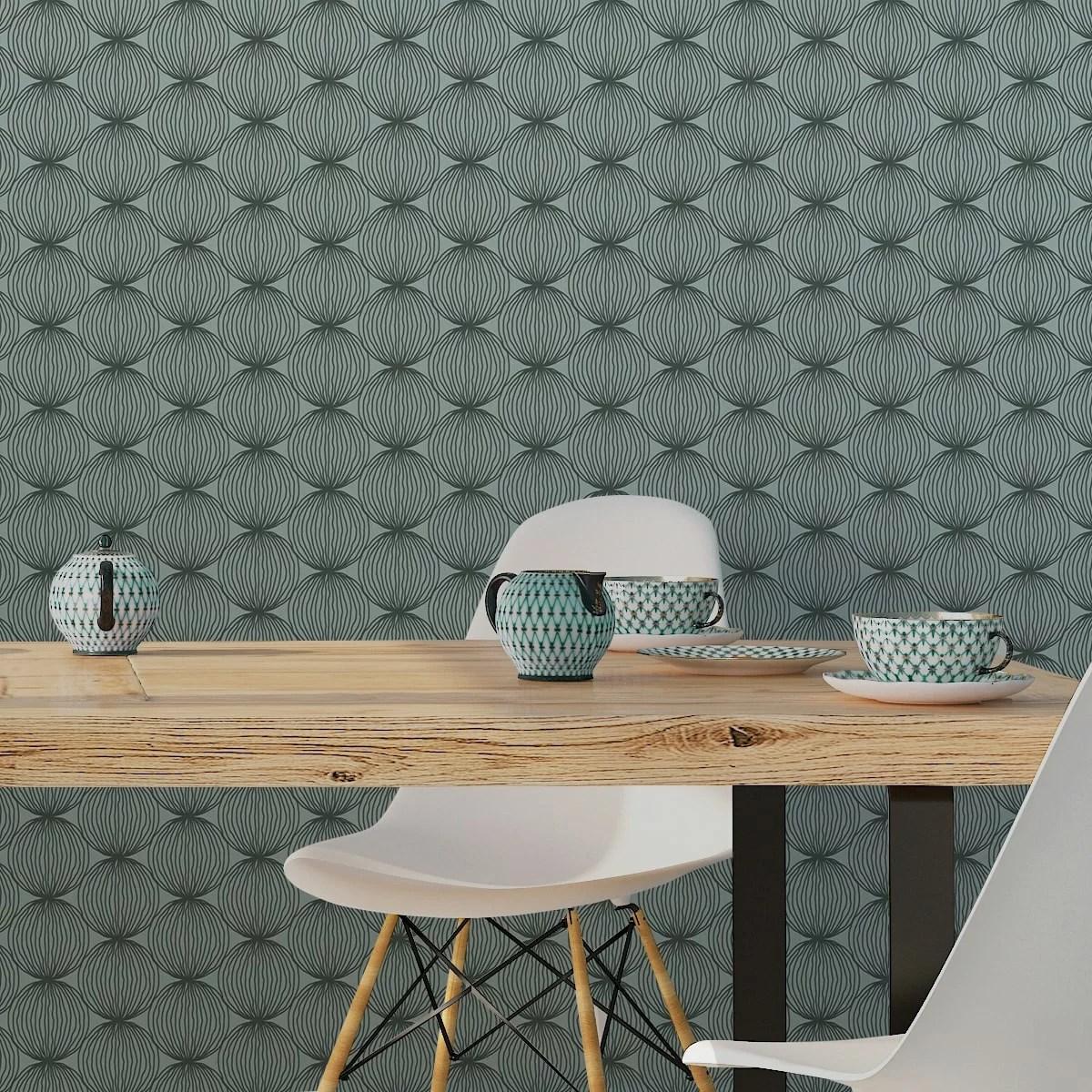 Design Tapete grüne moderne designer tapete grafic pompoms mit kreis kugel motiv