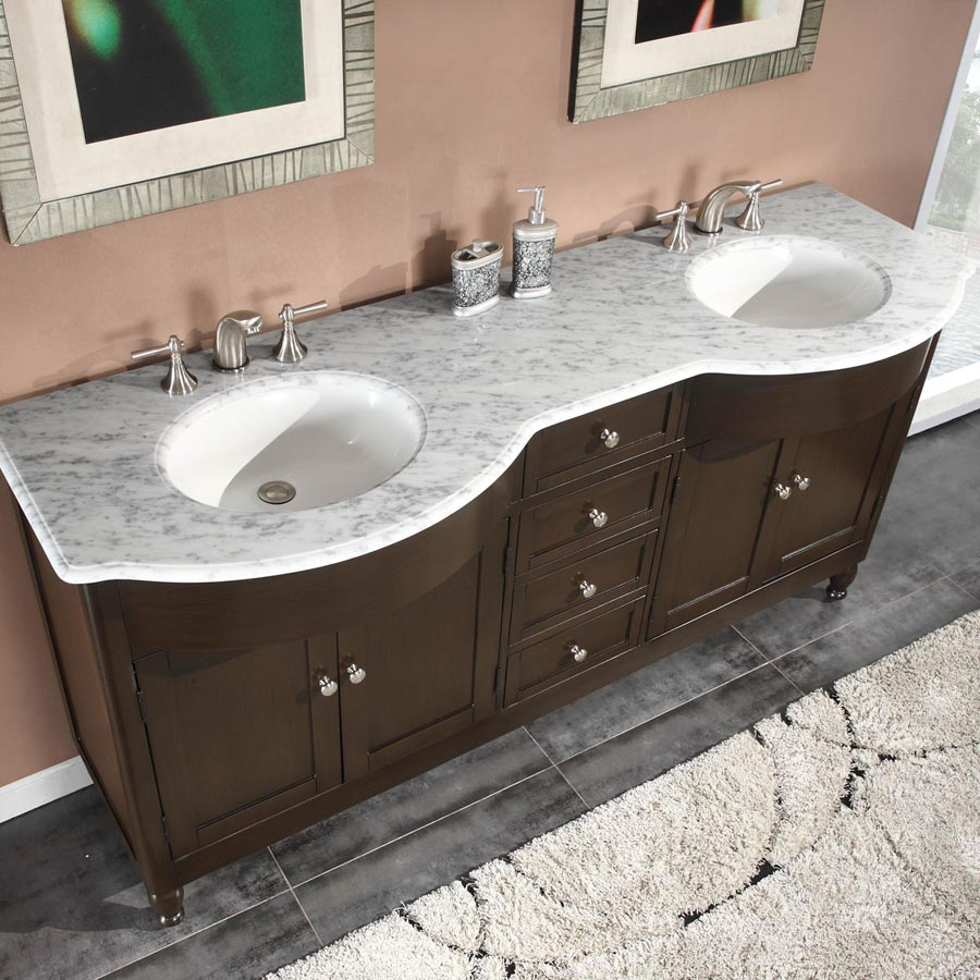 72 double sink cabinet carrara white marble top undermount white ceramic sink 3 hole