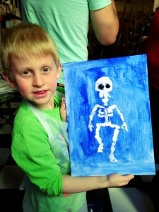 The Art Jamming artist traced the skeleton onto the canvas but Aaron painted it on himself :)