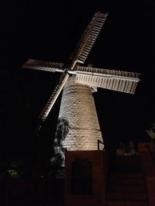 The Jerusalem windmill at night