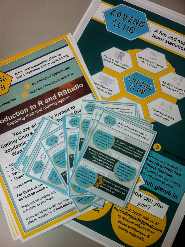 Posters and flyers to spread the word about Coding Club.
