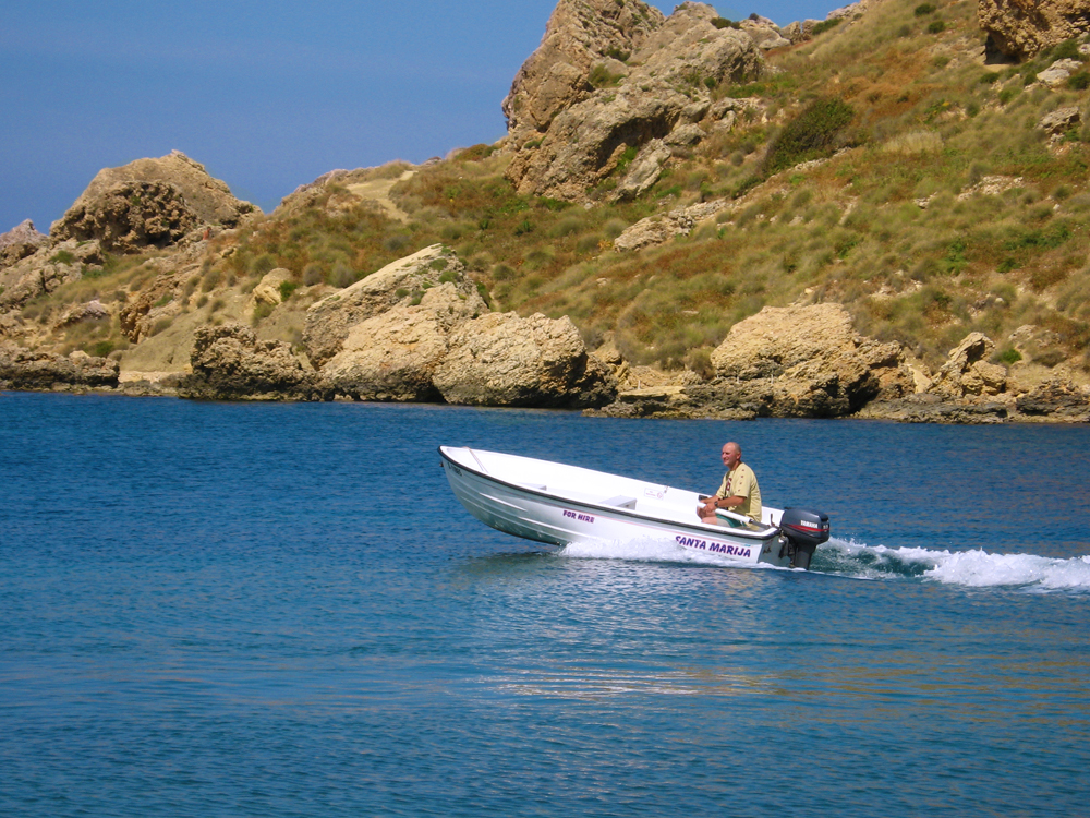 One of the self-drive boat available for hire in Malta