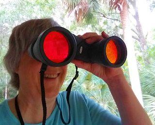 Terry peering through binoculars