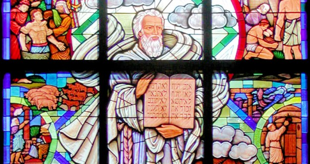 stained glass window of the Story in the Bible
