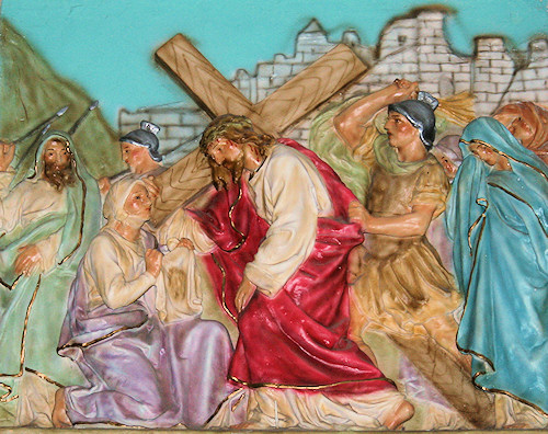Jesus is ministered to by Veronica