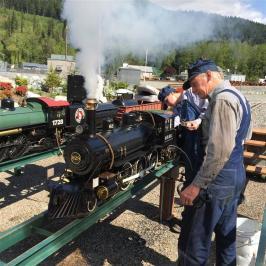 Steam up! On the raised service tracks.
