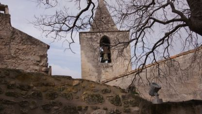 The village bell tower at Les Baux