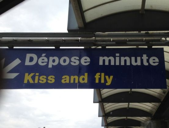 Sign outside Departures at Nice Airport