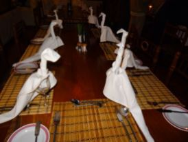 Our Table setting tonight - flamingos