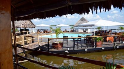 Swimming pool off near the floating restaurant