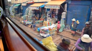 A view of stalls from the train.