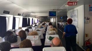 Inside the fast ferry to Capri