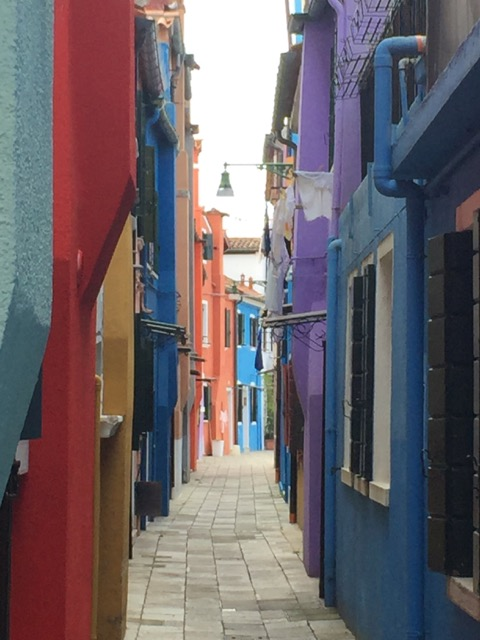 Narrow alleyway on Burano
