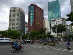A busy round-a-bout in Saigon