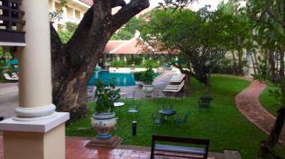 Overlooking the Raffles pool.