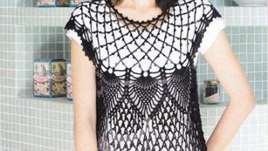 Photo of بلوزة كروشيه باللون الاسود سهلة التنفيذ مع الباترون Crochet Tshirt Blouse