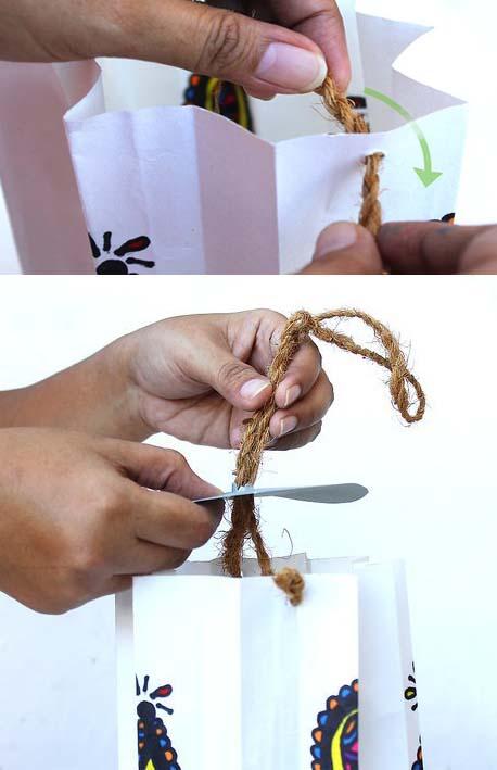 تثبيت الحبل فى فانوس رمضان من الورق