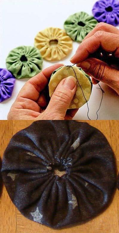 طريقة تنفيذ زهور اليويو من بواقى القماش