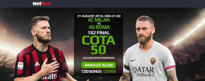 AC Milan vs AS Roma 31 august: Cota 50 pe piata 1X2