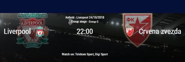 Cota 30.00 pentru Liverpool in partida cu Steaua Rosie Belgrad (24 octombrie)