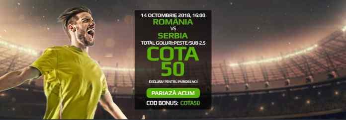 Romania vs Serbia? Pariaza 10 ron si poti incasa 500 RON!