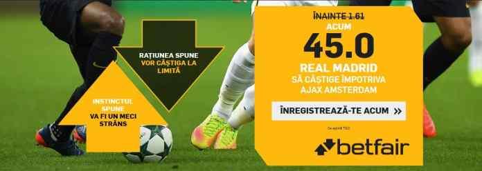 Real Madrid vs Ajax: cota 45.00