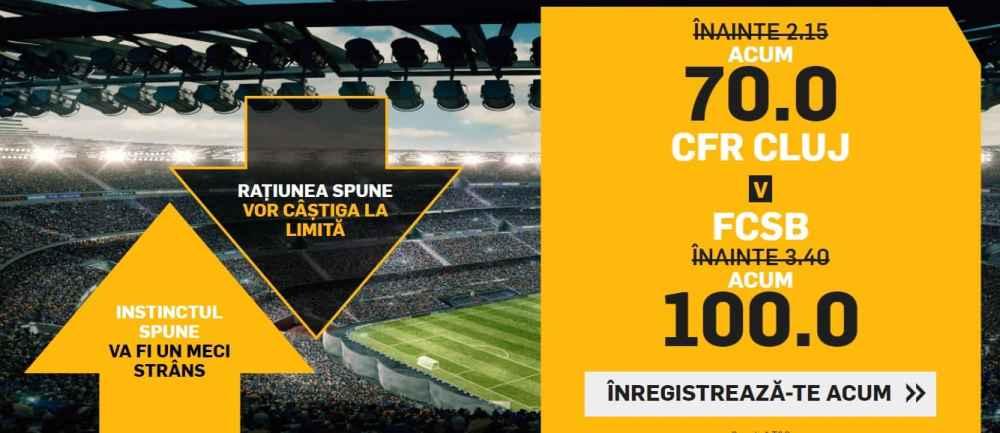 Cote speciale Betfair pentru CFR Cluj - FCSB