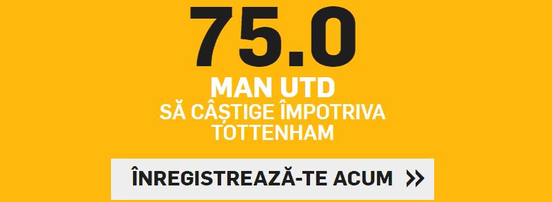 Cota 75.00 pentru Manchester United