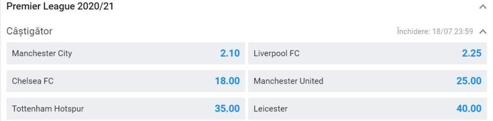 Premier League 2020/21: cote la pariuri
