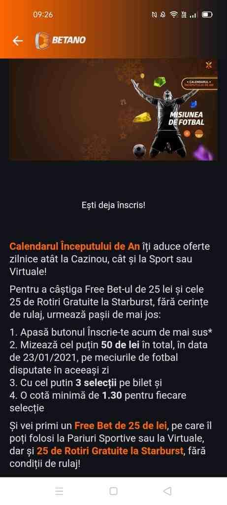 Betano promotie 23.01