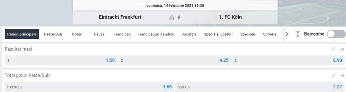 Vezi aici cotele din oferta Betano pentru Frankfurt vs Koln