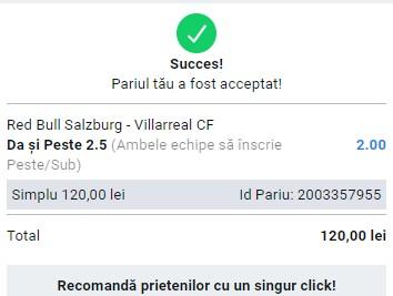 Prezentare cote Betano - Salzburg vs Villareal