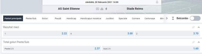 Prezentare cote Betano - St Etienne vs Reims