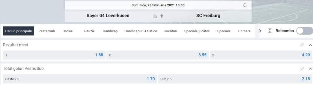 Cote Betano - Leverkusen vs Mainz