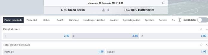 Prezentare cote - Union berlin vs Hoffenheim - Bundesliga