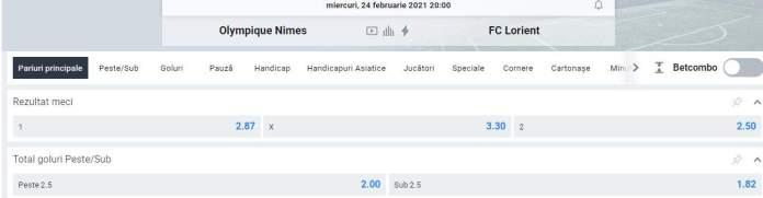 Oferta Betano - Cote Nimes vs Lorient - Ligue 1