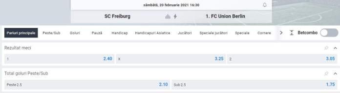 ponturi pariuri fotbal Freiburg vs Union Berlin - Bundesliga