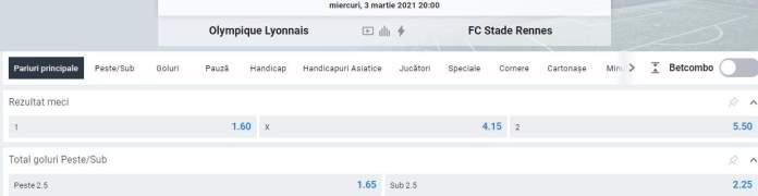 prezentare cote ligue 1 - lyon vs rennes