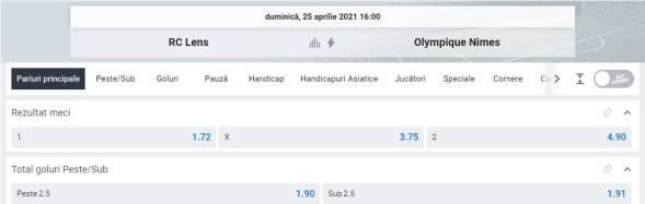 Ponturi pariuri Lens vs Nimes - Ligue 1