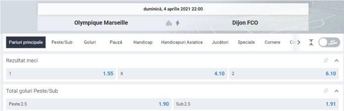 Ponturi pariuri Marseille vs Dijon - Ligue 1