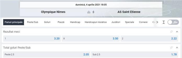 Ponturi pariuri Olympique Nimes vs AS Saint Etienne - Ligue 1
