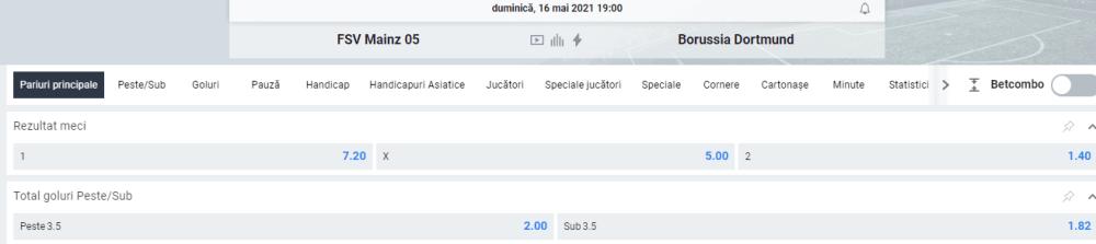 Cote Betano - Mainz vs Dortmund - Bundesliga