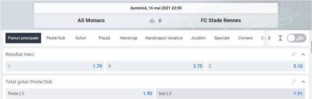 Ponturi pariuri AS Monaco vs Rennes - Ligue 1
