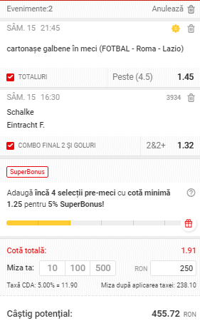 Cota 2 din fotbal Superbet 15.05.2021
