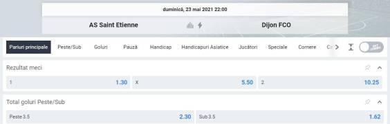 Ponturi pariuri Saint Etienne vs Dijon - Ligue 1