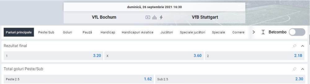 Ponturi pariuri Bochum vs VfB Stuttgart