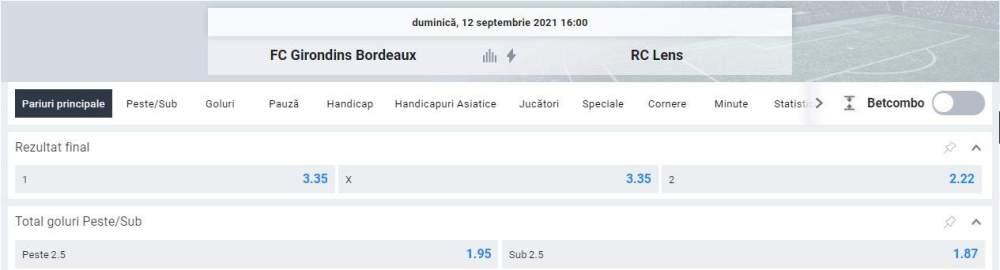 Ponturi pariuri Bordeaux vs RC Lens