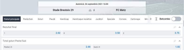 Ponturi pariuri Brest vs FC Metz - Ligue 1