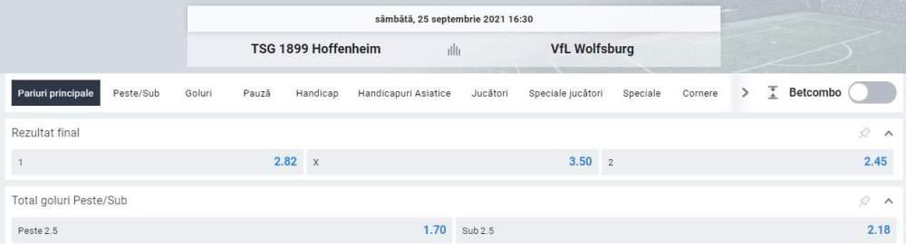 Ponturi pariuri Hoffenheim vs VfL Wolfsburg