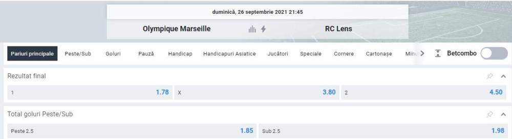 Ponturi pariuri Marseille vs RC Lens